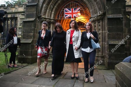 Labour MPs (L-R) Mary Creagh, Paula Sherriff and Caroline leave St Peters Church in the town of Birstall, West Yorkshire, where a vigil was held for murdered Labour MP Jo Cox. Jo Cox was holding her weekly advice surgery at the time of the attack in her constituency of Batley and Spen in West Yorkshire.