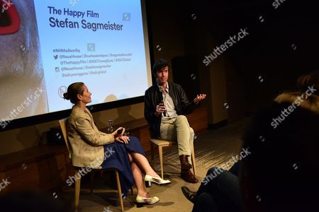Stock Image of Paola Antonielli and Stefan Sagmeister Q&A at the Art Directors Club 'The Happy Film' screening at NeueHouse Madison Square, New York, June 16.