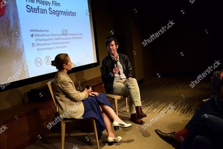 Stock Photo of Paola Antonielli and Stefan Sagmeister Q&A at the Art Directors Club 'The Happy Film' screening at NeueHouse Madison Square, New York, June 16.