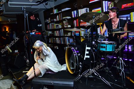 Stock Picture of Elizabeth Valleau and WOLVVES performing at the Art Directors Club 'The Happy Film' screening at NeueHouse Madison Square, New York, June 16.