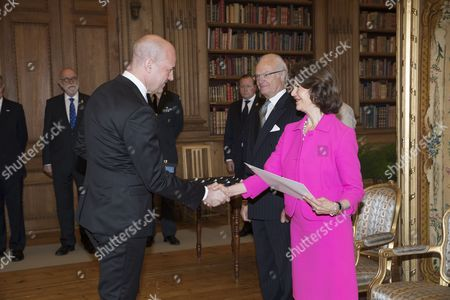 Fredrik Reinfeldt, King Carl Gustaf, Queen Silvia, Medal presentation, Royal Palace, Stockholm