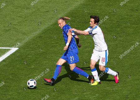 Domagoj Vida of Croatia and Tomas Rosicky of Czech Republic  during the UEFA European Championships 2016 , group D match between Czech Republic and Croatia   played at Stadium  Geoffroy Guichard , Saint-Etienne , France on June 17th  2016