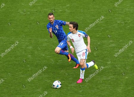 Tomas Rosicky of Czech Republic and Marcelo Brozovic of Croatia  during the UEFA European Championships 2016 , group D match between Czech Republic and Croatia   played at Stadium  Geoffroy Guichard , Saint-Etienne , France on June 17th  2016
