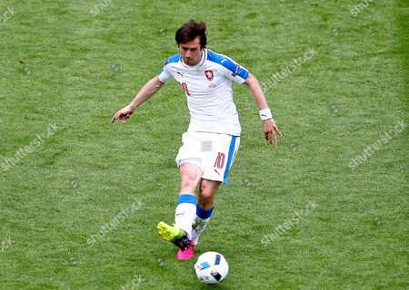 Tomas Rosicky of Czech Republic   during the UEFA European Championships 2016 , group D match between Czech Republic and Croatia   played at Stadium  Geoffroy Guichard , Saint-Etienne , France on June 17th  2016