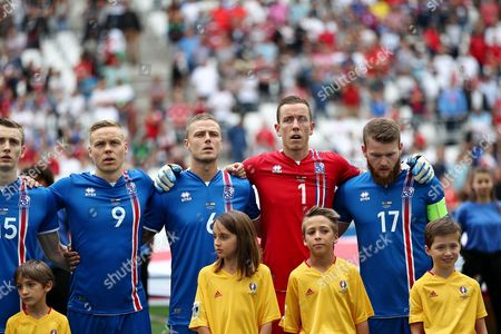Kolbeinn Sigborsson of Iceland ,Ragnar Sigurdsson of Iceland ,Iceland goalkeeper Hannes Por Halldorsson and Aron Gunnarsson of Iceland  during the UEFA European Championships 2016 , group F match between Iceland and  Hungary    played at Stadium Velodrome  , Marseille , France on June 18th  2016