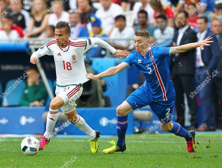 Zoltan Stieber of Hungary and Birkir Mar Saevarsson of Iceland  during the UEFA European Championships 2016 , group F match between Iceland and  Hungary    played at Stadium Velodrome  , Marseille , France on June 18th  2016