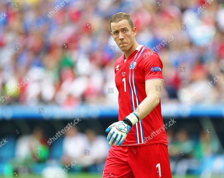 Iceland goalkeeper Hannes Por Halldorsson  during the UEFA European Championships 2016 , group F match between Iceland and  Hungary    played at Stadium Velodrome  , Marseille , France on June 18th  2016