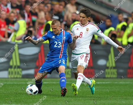 Ari Freyr Skulason of Iceland and Adam Nagy of Hungary   during the UEFA European Championships 2016 , group F match between Iceland and  Hungary    played at Stadium Velodrome  , Marseille , France on June 18th  2016
