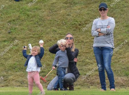 Stock Image of Zara Tindall, Mia Grace Tindall and son of polo player Malcolm Borwick