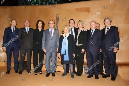 Jean-Jacques Aillagon, Francois Pinault, Martin Rey-Chirac, Audrey Azoulay, French President Francois Hollande, Claude Chirac and Bernadette Chirac