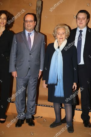 French President Francois Hollande, Bernadette Chirac and Martin Rey-Chirac