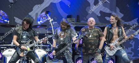 Kasperi Heikkinen, Fitty Weinhold, Udo Dirkschneider, Andrey Smirnov on the Dirkschneider tour