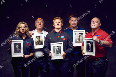 L to R Sally Gunnell, Peter Shilton, Josh Lewsey, Sir Nick Faldo and Mike Gatting are pictured holding the photographs of sportsmen who were wounded or killed in the Battle of the Somme