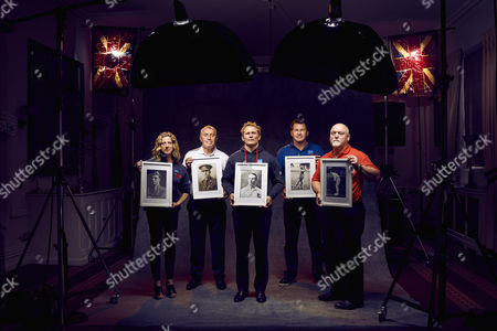 Stock Photo of L to R Sally Gunnell, Peter Shilton, Josh Lewsey, Sir Nick Faldo and Mike Gatting are pictured holding the photographs of sportsmen who were wounded or killed in the Battle of the Somme