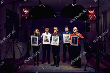 Stock Image of L to R Sally Gunnell, Peter Shilton, Josh Lewsey, Sir Nick Faldo and Mike Gatting are pictured holding the photographs of sportsmen who were wounded or killed in the Battle of the Somme