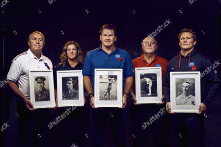 L to R Peter Shilton, Sally Gunnell, Sir Nick Faldo, Mike Gatting and Josh Lewsey are pictured holding the photographs of sportsmen who were wounded or killed in the Battle of the Somme