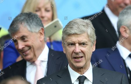 Arsene Wenger with David Dein left  watching during the UEFA Euro 2016 Group C match between Northern Ireland and Germany played at Parc des Princes, Paris, France on June 21st 2016