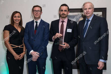 Jessica Ennis, Dr Nicholas Cullinan (Director of the National Portrait Gallery) Jamie Coreth (Winner of BP Young Artist Award), and Bob Dudley (Group Chief Executive of BP)