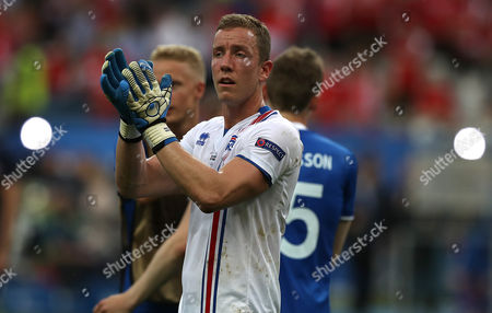 Iceland goalkeeper Hannes Por Halldorsson celebrates at full time during the UEFA Euro 2016 Group F match between Iceland and Austria played at Stade de France, Paris, France on June 22nd 2016