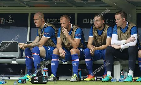Eidur Gudjohnsen of Iceland on the substitutes bench during the UEFA Euro 2016 Group F match between Iceland and Austria played at Stade de France, Paris, France on June 22nd 2016