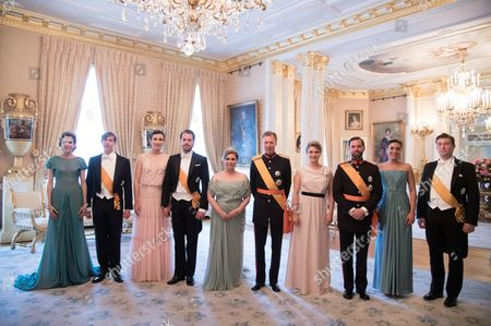 Princess Tessy of Luxembourg, Prince Louis of Luxembourg, Princess Claire, Prince Felix, Grand Duchess Maria Teresa of Luxembourg, Grand Duke Henri of Luxembourg, Crown Grand Duchess Stephanie of Luxembourg, Crown Hereditary Grand Duke Guillaume of Luxembourg, Princess Alexandra and Prince Sebastien of Luxembourg