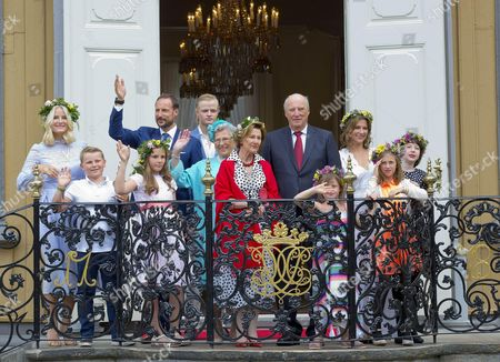 King Harald, Queen Sonja, Crown Princess Mette-Marit and Crown Prince Haakon and Princess Ingrid Alexandra, Prince Sverre Magnus and Marius Borg Hoiby, Princess Martha Louise and Maud Angelica Behn and Leah Isadora Behn and Emma Tallulah Behn