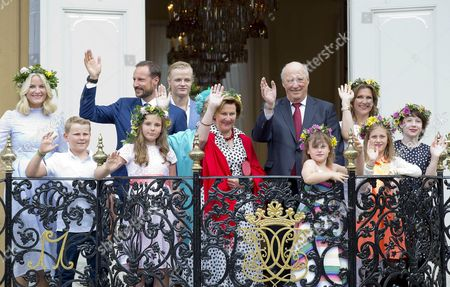 Stock Image of King Harald, Queen Sonja, Crown Princess Mette-Marit and Crown Prince Haakon and Princess Ingrid Alexandra, Prince Sverre Magnus and Marius Borg Hoiby, Princess Martha Louise and Maud Angelica Behn and Leah Isadora Behn and Emma Tallulah Behn