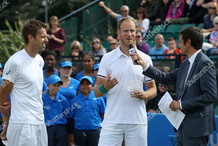 Great Britain's Dominic Inglot and Canada's Daniel Nestor enjoy their victory during the Aegon Open Nottingham Tennis Tournament played at Nottingham tennis, Nottingham on June 25th 2016