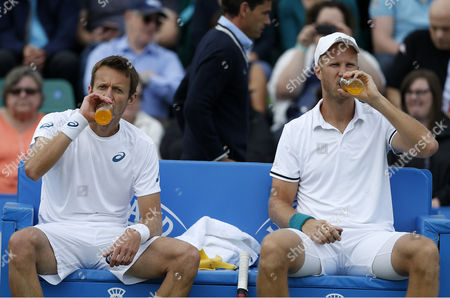Great Britain's Dominic Inglot and Canada's Daniel Nestor have a break  during the doubles final during the Aegon Open Nottingham Tennis Tournament played at Nottingham tennis, Nottingham on June 25th 2016