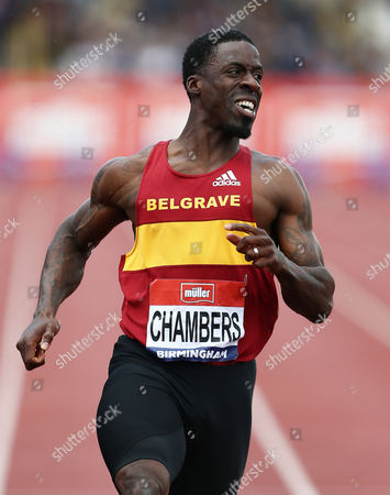 Stock Photo of Dwain Chambers during the 100 metres semi-final at the British Athletics Championships meeting at the Alexander stadium, Birmingham on June 25th 2016