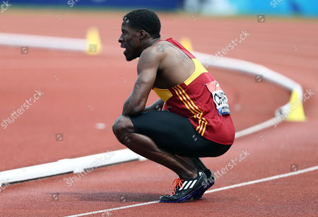 Dwain Chambers during the 100 metres semi-final at the British Athletics Championships meeting at the Alexander stadium, Birmingham on June 25th 2016
