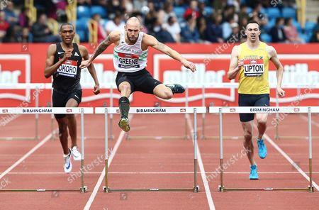 Dai Greene during the 400 metres hurdles heats at the British Athletics Championships meeting at the Alexander stadium, Birmingham on June 25th 2016