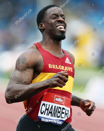 Stock Image of Dwain Chambers during the 100 metres semi-final at the British Athletics Championships meeting at the Alexander stadium, Birmingham on June 25th 2016