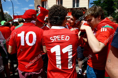 A Wales fan wearing a Gary Speed shirt before the UEFA Euro 2016 Round of 16 match between Wales and Northern Ireland played at Parc des Princes, Paris, France on June 25th 2016