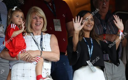 Gareth Bale's daughter Alba, mother Debbie and girlfriend Emma Rhys-Jones in the stands during the UEFA Euro 2016 Round of 16 match between Wales and Northern Ireland played at Parc des Princes, Paris, France on June 25th 2016