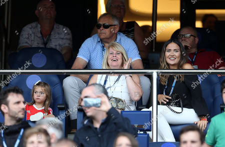 Gareth Bale's daughter Alba Violet Bale, mother Debbie and partner Emma Rhys-Jones.