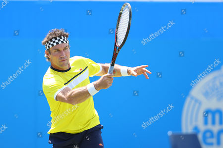 Pat Cash of Australia during a legends exhibition match