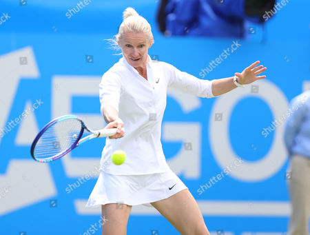 Jana Novotna of Czech Republic during a legends exhibition match