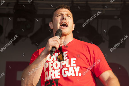 British rugby player Keegan Hirst, arrived on the stage in Trafalgar Square and addressed the crowd.