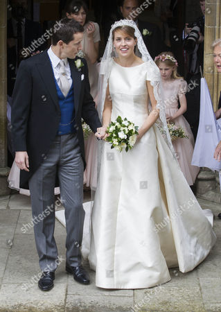 The bride and groom - Thomas Hooper and Alexandra Knatchbull after the wedding.