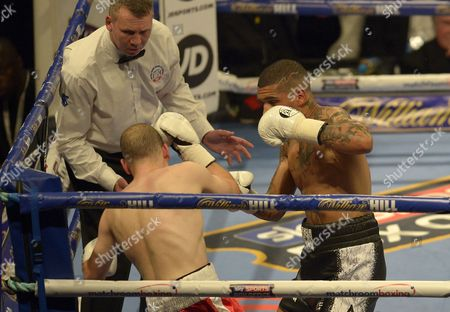 Connor Benn knocks down Lukas Radic during the Super-Lightweight fight between Conor Benn and Lukas Radic at the O2 Arena, London on June 25th 2016