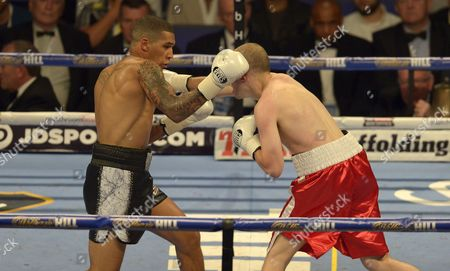 Connor Benn punches Lukas Radic during the Super-Lightweight fight between Conor Benn and Lukas Radic at the O2 Arena, London on June 25th 2016