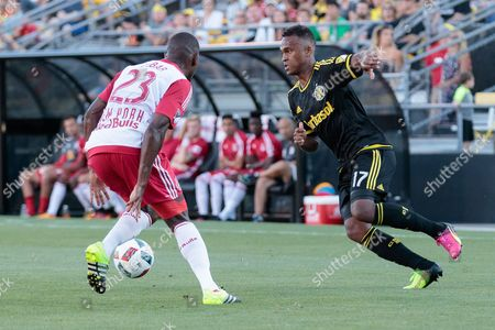 Columbus Crew forward Ola Kamara (17) looks to pass and New York Red Bulls d Ronald Zubar (23) defends during Major League Soccer game between the Columbus Crew and the New York Red Bulls at Mapfre Stadium in Columbus, Ohio. Game is tied 0-0 at the half
