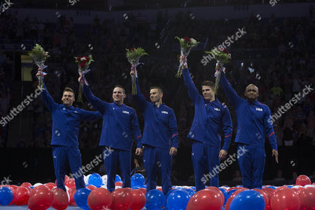 The Rio men's gymnastics team reacts as the team is announced at the U.S. Olympic Team Trials in St. Louis. From left: Sam Mikulak, Alex Naddour, Jacob Dalton, Chris Brooks, John Orozco.