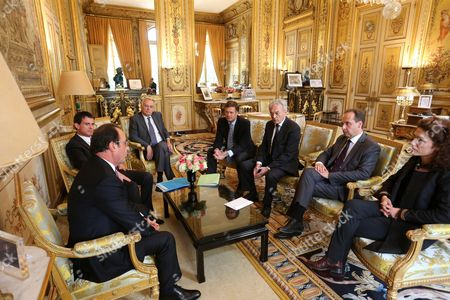 French president Francois Hollande, Manuel Valls recieve the political party Union of Democrats and Independants leaders : Jean-Christophe Lagarde, Chantal Jouanno, Jean Arthuis, Arnaud Richard
