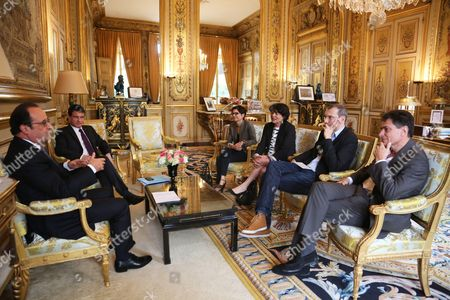French President Francois Hollande and Prime Minister Manuel Valls meet with French Europe Ecologie-Les Verts green party members Sandrine Rousseau, Michele Rivasi, David Cormand and Pascal Durand