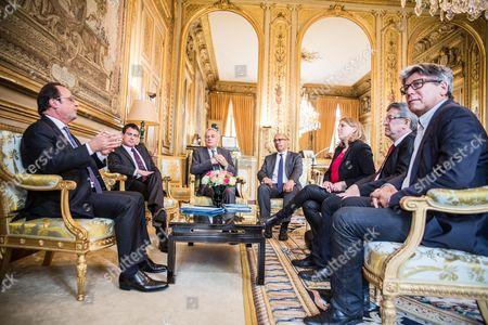 Francois Hollande, Manuel Valls, Jean-Marc Ayrault, Harlem Desir, Danielle Simonnet, Eric Coquerel, Jean Luc Melenchon