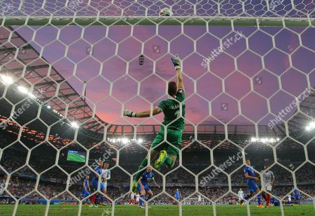 Iceland goalkeeper Hannes Por Halldorsson makes a save  during the UEFA Euro 2016 Round of 16 match between  England and Iceland played at Stadium Nice, Nice, France on June 27th 2016