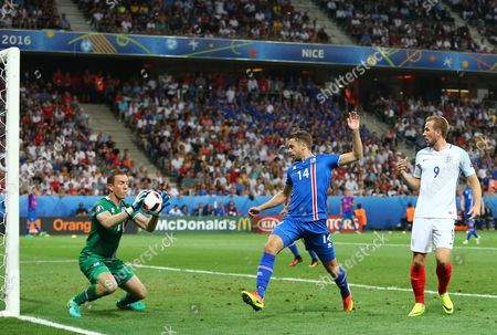 Stock Photo of Iceland goalkeeper Hannes Por Halldorsson  during the UEFA Euro 2016 Round of 16 match between  England and Iceland played at Stadium Nice, Nice, France on June 27th 2016