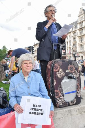 Piers Corbyn. Supporters of Jeremy Corbyn rally in Parliament  Square after the recent resignations from the  Labour front bench
